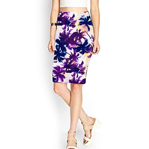 Droite lgant Jupe Crayon Jupe Sixcup Floral Taille Mi Longue Bodycon Haute Longue Hawaii Femme Noir lasticit Imprim zRpIHqS