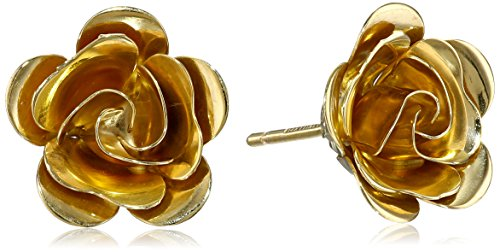 14k Yellow Gold Italian 3D Flower Stud Earrings (Italian Stud Gold)