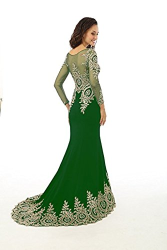 Kleid Langarm L Frauen King's Gr¨¹n Mieder Abendkleid Perlen Love Spitze Sheer nge Applikationen Strass Meerjungfrau Boden Abendkleid OpqtHq0x