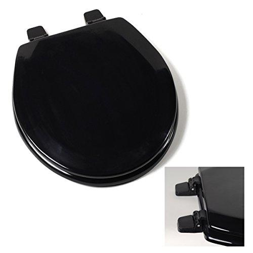 Deluxe Black Wood Round Toilet - Ebony Wood Seat