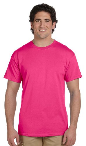 Fruit of the Loom Men's Crewneck Tee 4 Pack, 2 Ch. Grey / 2 Cyber Pink, Medium ()