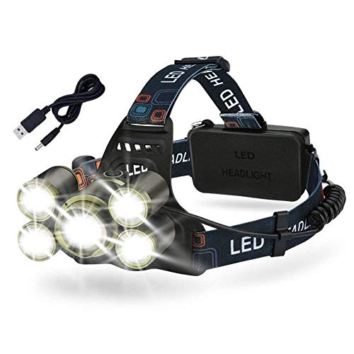 LED Headlamp Rechargeable Flashlight Brightest Waterproof 5 Lighting Modes Zoomable Helmet Headlight for Camping, Cycling, Hiking, Fishing, Running, Hunting or Emergency by EECOO