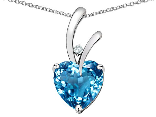 Star K Heart Shape 8mm Genuine Blue Topaz Endless Love Pendant Necklace 10 kt White Gold