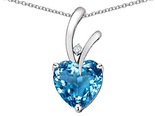 Star K Heart Shape 8mm Genuine Blue Topaz Endless Love Pendant Necklace 10 kt White Gold ()