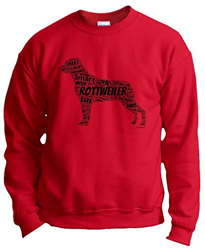 Dog Clothes Rottweiler Word Art Dog Puppy Owner Gift Crewneck Sweatshirt Small Red