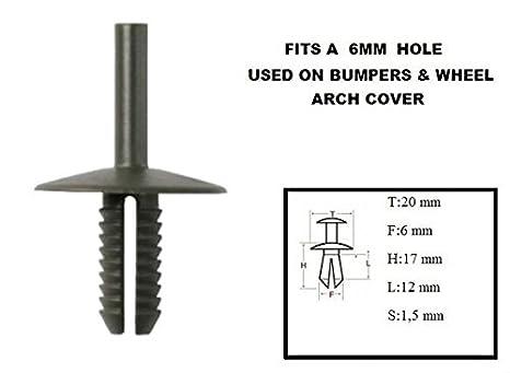 LIGHT GREY Moulding : CLIPS//RIVETS//FIXTURES FOR CAR: Bumper Mounting Wheel Arch Door etc. XtremeAuto/® 10 X Scrivet Rivet/_6.5mm Side Panel
