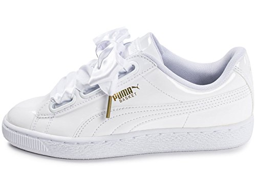 Puma WoMen Basket Heart Patent WN's Low-Top Sneakers White (Puma White-puma White 2)