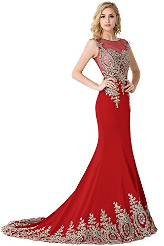 Rot Partykleid Ärmellos Damen Lang Applikation Mit Ballkleider Meerjungfrau Abendkleid Babyonlinedress® Tüll avqOnaP