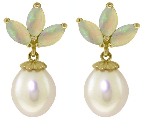 - 14K Solid Gold Cultured Pearl and Opal Stud Dangle Earrings