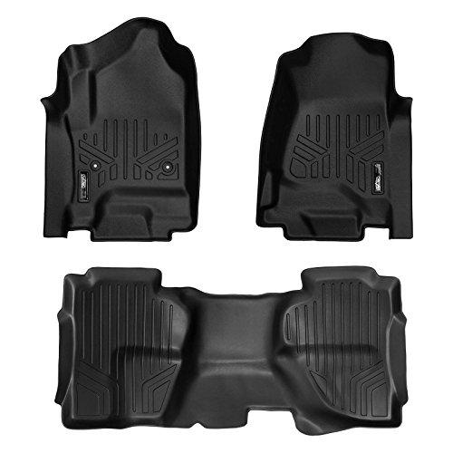 MAXFLOORMAT SMARTCOVERAGE Premium Floor Mats 2 Row Set Black for 2014-2018 Silverado/Sierra 1500 Double Cab - 2015-2018 2500/3500 HD Double Cab