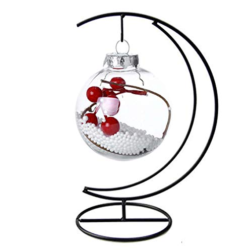 (Ornament Display Stand Flower Plant Pot Stand Holder Iron Pothook Stand for Hanging Glass Terrarium (Moon))