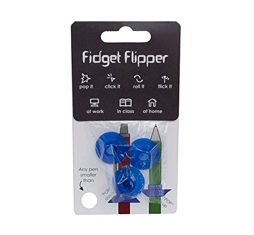 Fidget Flipper Pencil Grip: The Newest and Most Versatile Fidget Gadget. Turn Any Pen or Pencil Into a Tool That Boosts Concentration, Improves Focus, and Encourages Stress Relief (Blue)