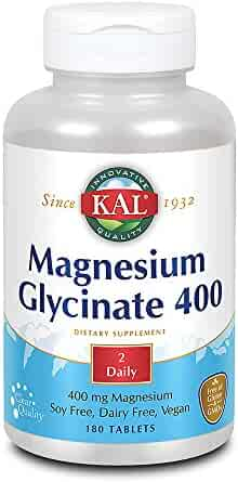 KAL Magnesium Glycinate 400 | Vegan, Chelated, Non-GMO, Soy, Dairy, and Gluten Free | 90 Servings, 180 Tablets