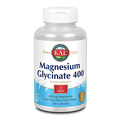 KAL Magnesium Glycinate 400 | Vegan, Chelated, Non-GMO, Soy, Dairy, and Gluten Free | 180 Servings (Every Man 180 Tabs)