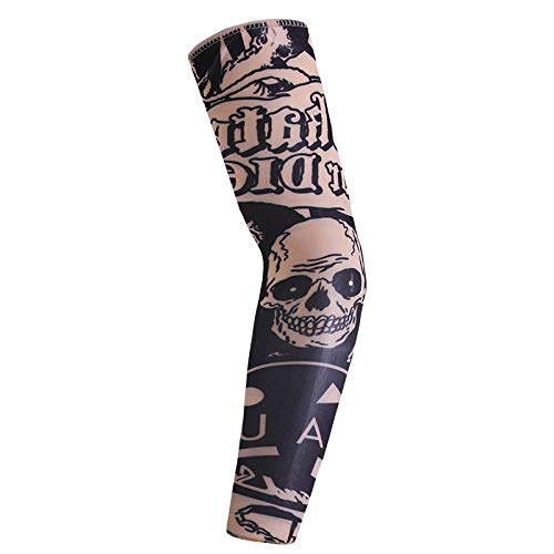 (5 Pack Set Arts Fake Temporary Tattoo Arm Sunscreen Sleeves Designs Tiger, Crown Heart, Skull, Tribal and Etc)