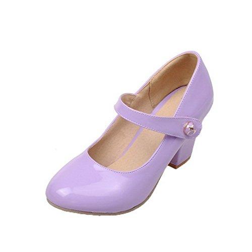 Agoolar Tacón Puntera Charol Zapatos Morado Medio Mujeres De Sólido Redonda Fgqr1xgWwI
