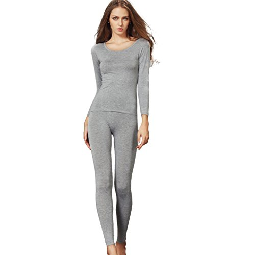 Liang Rou Women's Scoop Neck Stretch Top & Bottom Thin Underwear Set Grey S XS-S (0 2 4 6) 1 Set Grey (Women Very Coats Warm Winter For)