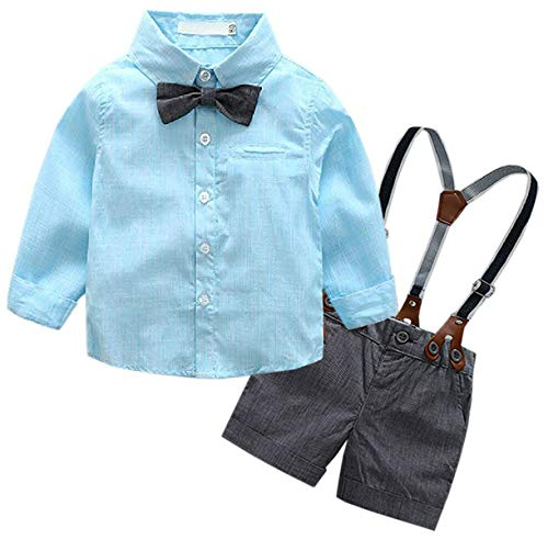 Baby Boys Dress Clothes, Toddlers Long Sleeves Button Down Dress Shirt with Bowtie + Suspender Shorts Set Summer Gentlemen Outfit, Light Blue, 18-24 Months/Tag 95