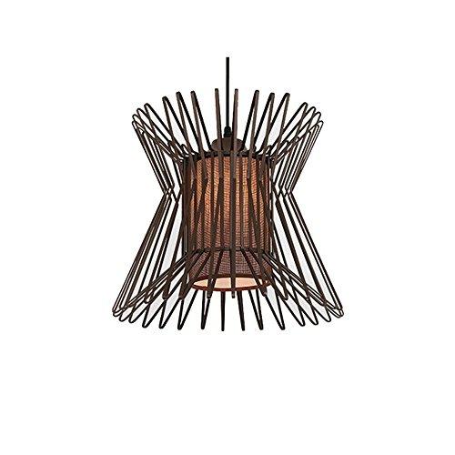 Downlight Fabric Shade (E27 Creative Retro Iron Birdcage Chandelier Cafe Hotel Corridor Restaurant Fabric Lampshade Ceiling Light Home Decor Indoor Pendant Light,Brown/3530cm)