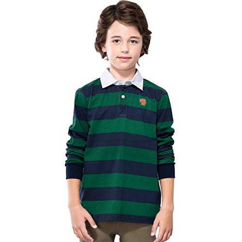 Leo&Lily Boys' Long Sleeves Striped Cardigan Rugby Polo Shirt ()