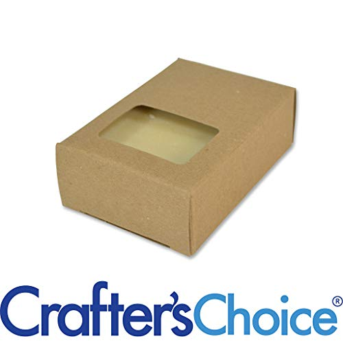 50 Crafter's Choice Kraft Rectangle Window Soap Box - Homemade Soap Packaging - Soap Making Supplies - 100% Recycled Materials - Made in USA! 50 Pack