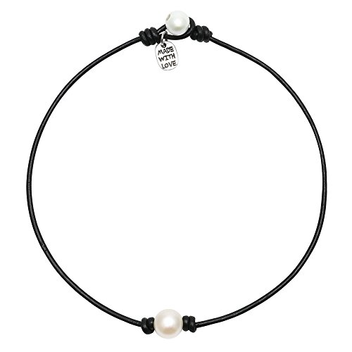 Single Cultured Freshwater Pearl Chokers for Girls Handmade Black Leather One Bead Pendant Jewelry for Women Fashion Boho Necklace Choker with Pearl for Valentine's Day Gift 16