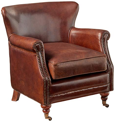 ACME Leeds Accent Chair, Vintage Dark Brown Top Grain Leather (English Club Leather Chair)