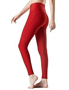 TSLA TM-FYP54-RED_Large Yoga Pants High-Waist Leggings w Side Pockets FYP54
