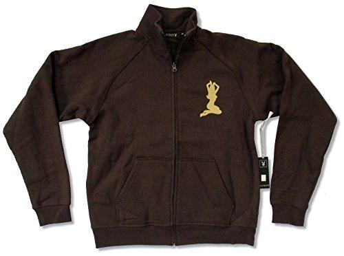 Adult Playboy Silhouette Brown Fleece Zip Up Jogger (X-Large)