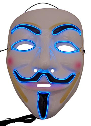 Light Up Blue Wire Anonymous Mask with Colorful Facial Features Halloween Accessory
