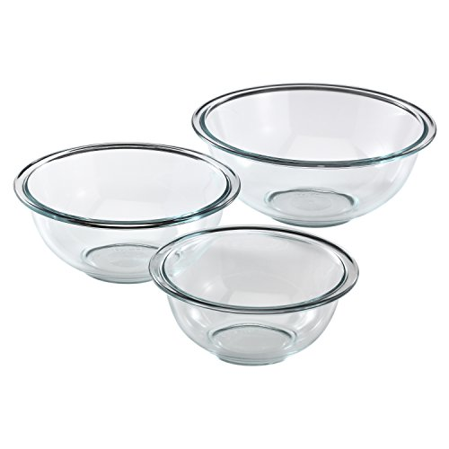 A set of durable glass mixing bowls.