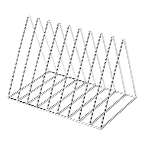 Delifox Magazine Rack Holder Triangle Shape Desktop Document Organizer File Collection, Silver