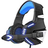 VersionTECH. BX039L Stereo Gaming Headset for Xbox One, PS4, PC, Noise Isolating Over Ear Headphones with Mic, Blue
