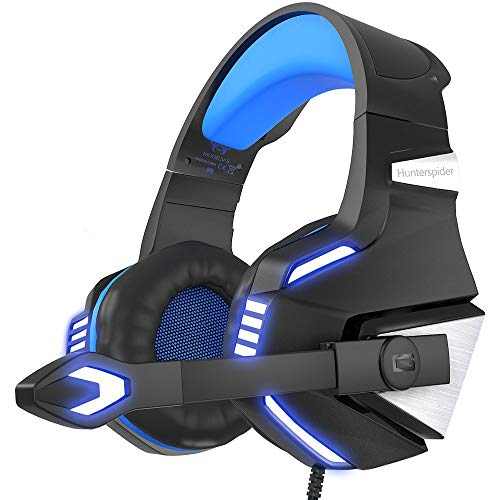 Gaming Headset for Xbox One, PS4, PC, Noise Isolating Over Ear Headphones with Mic,LED Light, 50mm Driver, Volume Control for Nintendo Switch(Audio),Laptop, iMac,Computer Game-Blue ()