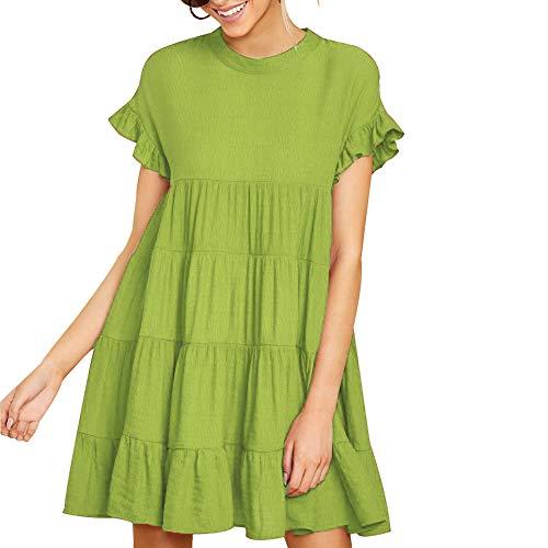 - Joteisy Women's O Neck Ruffle Short Sleeve Tiered Casual Mini Dress (XL, Light Green)