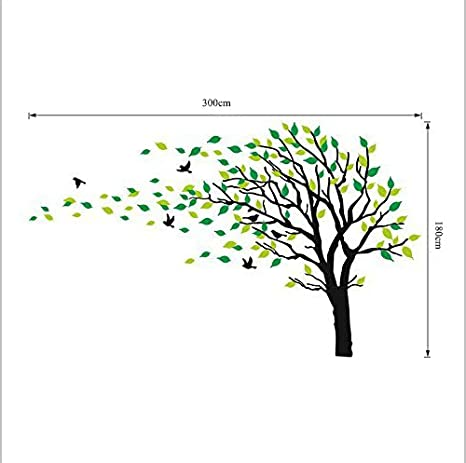 White Large Tree Blowing in The Wind Tree Wall Decals Wall Sticker Vinyl Art Kids Rooms Teen Girls Boys Wallpaper Murals Sticker Wall Stickers Nursery Decor Nursery Decals
