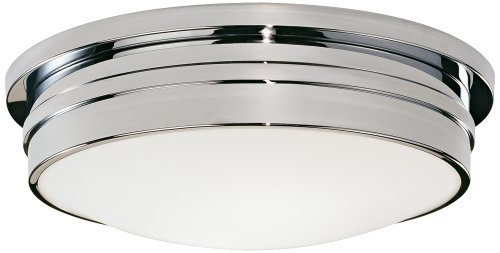 Robert Abbey C1317 Flush Mounts with White Frosted Glass Shades, Polished Chrome (Abbey Bowl)
