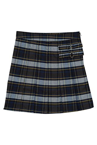 French Toast Big Girls' Plaid Pleated Scooter, Blue/Gold, 8