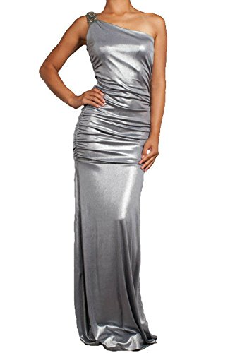 Silver Metallic One Shoulder Gown Dress Sparkling Cocktail Party Medium (Medium, Silver) (One Shoulder Gown Metallic)
