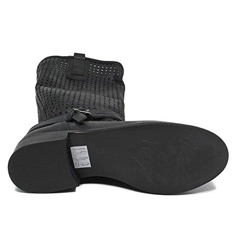 Time Donna Estivi Alti Nero Vera Biker Nabuk Italy Nero Boots Traforati In Pelle Made 0384 in Stivali in dIqwB0FF