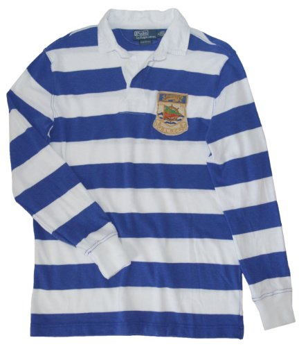 Custom Fit Crest Polo - Polo Ralph Lauren Men's Custom-Fit Long-Sleeved RLPC-Crest Striped Rugby (Small, Rugby Royal)