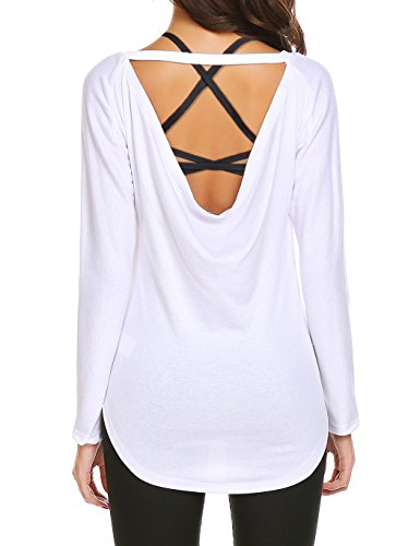 SE MIU Women's Loose Backless Long Sleeve Top Blouse Soft Cowl Back Yoga Tank Top Running Gym Sports T Shirt White - Miu Chart Miu Size