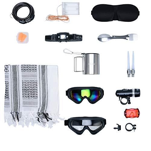 Burnessentials Desert Survival Camping Kit Bundle with Dust Goggles, Multi-Purpose Scarf, and Accessories (12 Items)