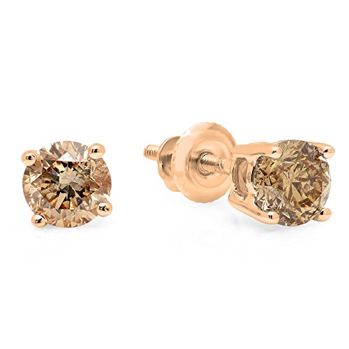 Dazzlingrock Collection 0.50 Carat (ctw) 14K Round Champagne Diamond Ladies Stud Earrings 1/2 CT, Rose Gold ()