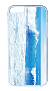 MOKSHOP Adorable Blue Ocean Waves Hard Case Protective Shell Cell Phone Cover For Apple Iphone 6 (4.7 Inch) - PC White