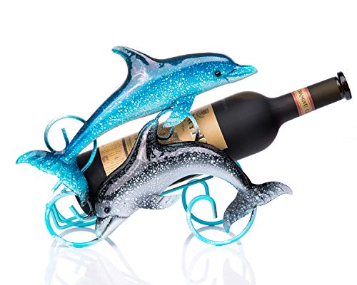 FLY SPRAY Wine Holder Dolphin Wrought Iron for Kitchen Restaurant Wine Cellar Bar Home Interior Decor Cartoon Creative Gifts Free Standing Storage Exhibit 1-Bottle