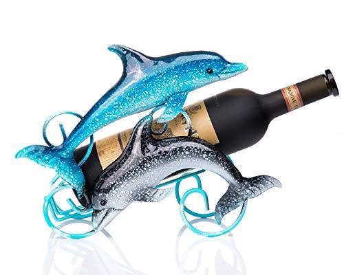 FLY SPRAY Wine Rack Dolphin Wrought Iron for Kitchen Restaurant Wine Cellar Bar Home Interior Decor Cartoon Creative Gifts Free Standing Wine Holder Storage Rack Exhibit 1-Bottle - Home Interior Decor