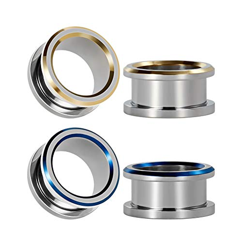 TBOSEN 2 or 4 pcs Latest Design Blue & Gold Double Circular Line Plugs And Tunnels For Ears Cute Ear Gauges
