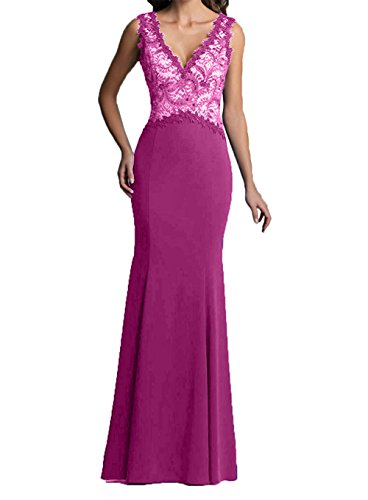Damen Abendkleider Pink Langes Brautmutterkleider Neu V Etuikleider Promkleider Charmant ausschnitt Trumpet UgOqwZxgB