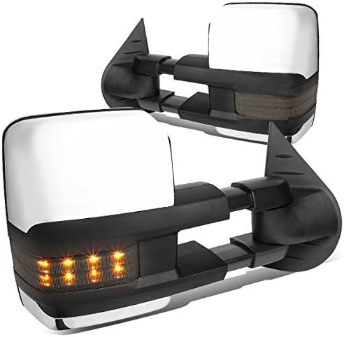 07-14 Silverado//Sierra DNA Motoring TWM-028-T888-BK-SM Powered Towing Mirror Heat LED Smoked